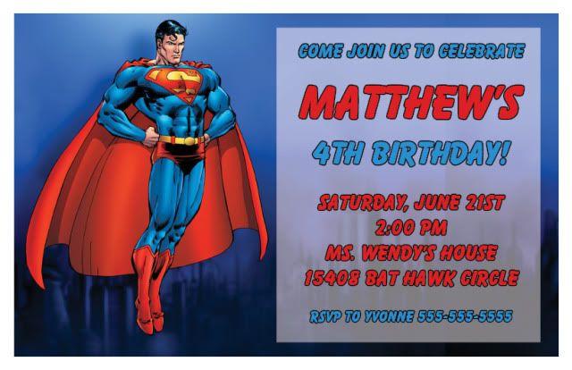 Superman Birthday Invitations Ideas For Andrew