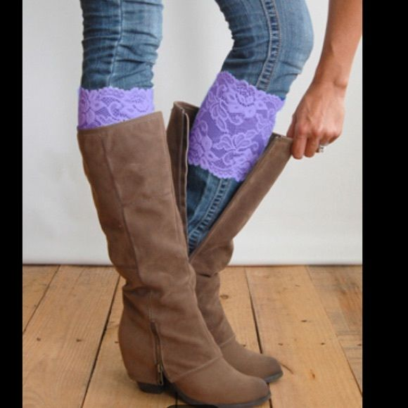 Purple lace cuffs Cute and sexy stretchy flory lace boot cuffs new in package 2 available Accessories Hosiery & Socks