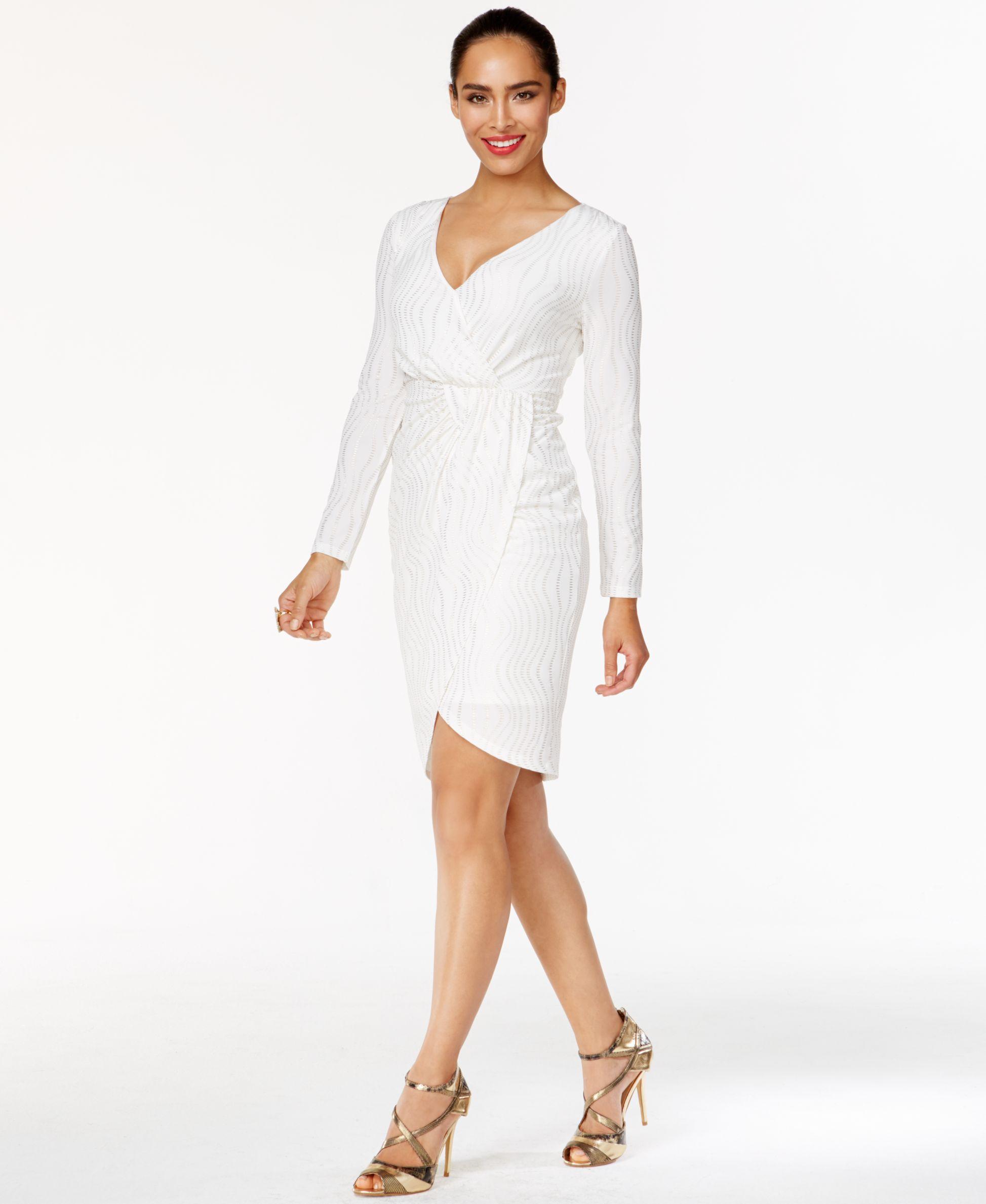 Thalia Sodi Metallic Striped Faux-Wrap Dress, Only at Macy\'s ...