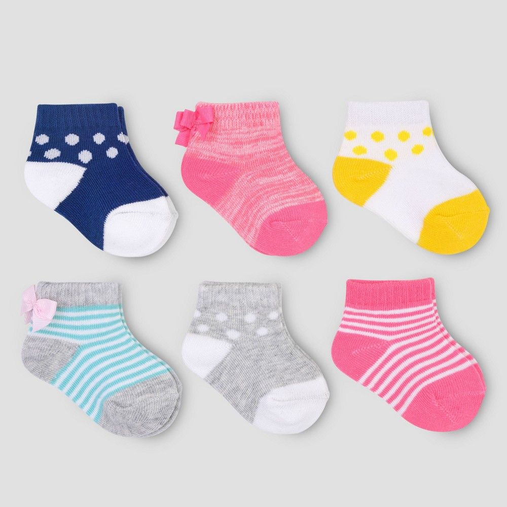 42f9a7bda Baby Girls  6pk Bow Ankle Socks - Just One You made by carter s Pink ...