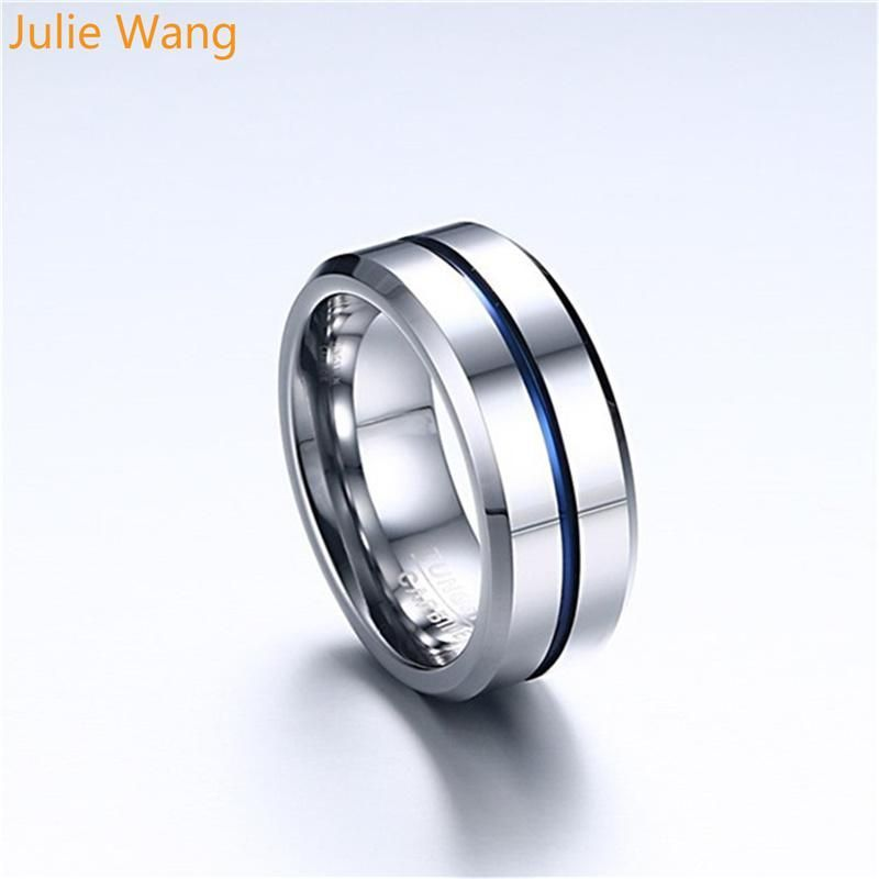 Julie Wang 8mm Tungsten Carbide Silver Simple Ring Men Jewelry For