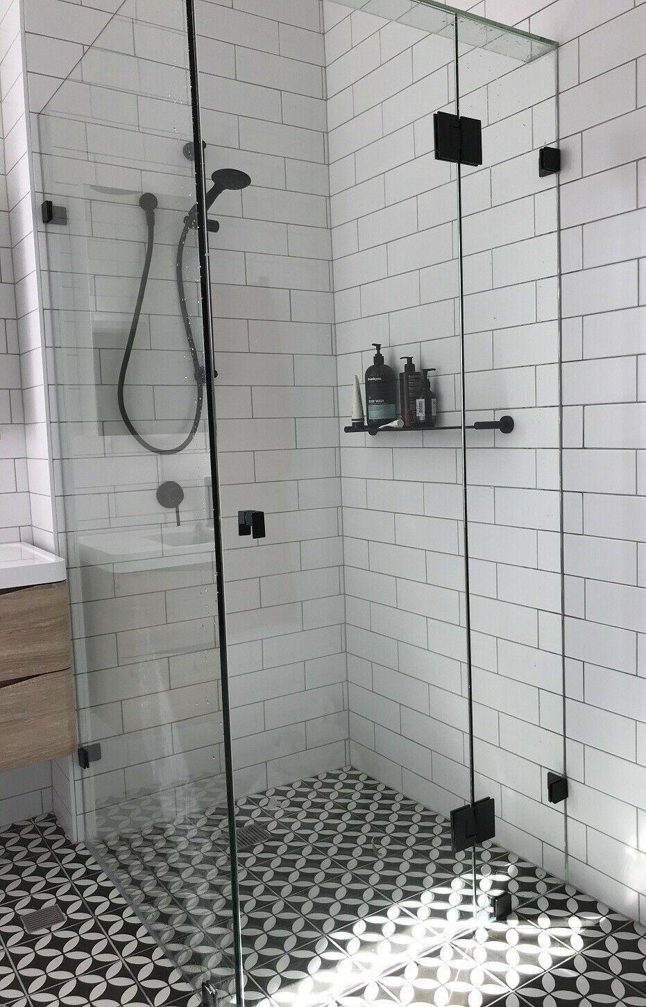 Square Frameless Matt Black Shower Screens Toughen Glass Ebay 1000 In 2020 Bathroom Remodel Shower Bathroom Shower Design Glass Shower