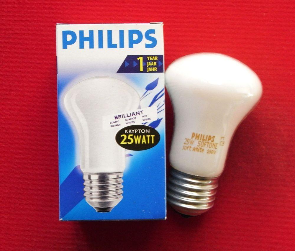4 X Philips Gluhbirnen Gluhlampen Pilz Krypton 25w Watt 25 W E27