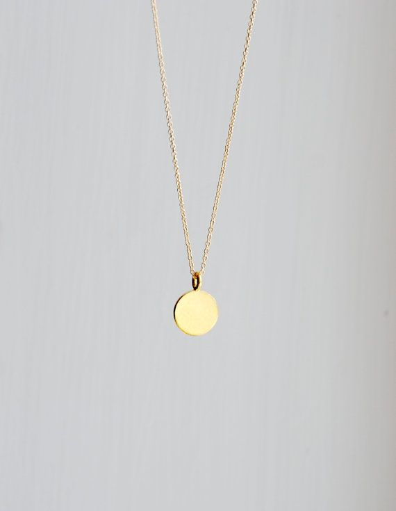 Gold pendant necklace engravable small round gold vermeil disk gold pendant necklace engravable small round gold vermeil disk pendant gift for her delicate dainty dot simple everyday jewelry ellen aloadofball Images