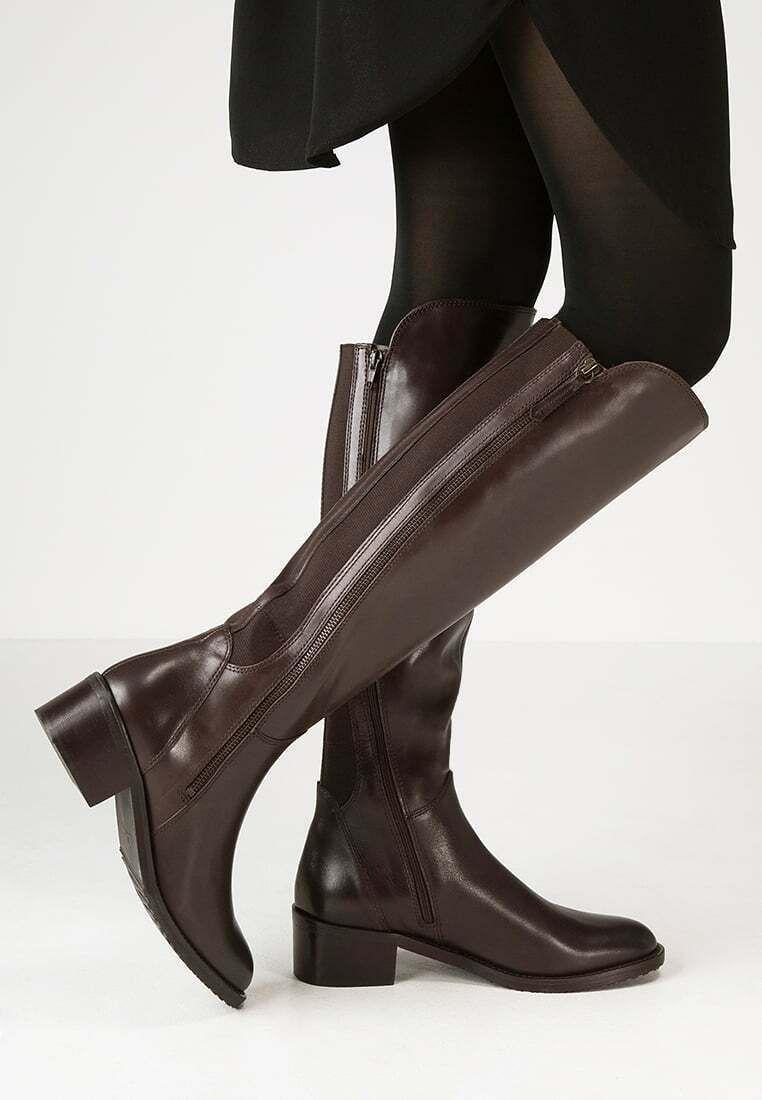Cerveza Objetado Credo  Clarks Ladies Knee-High Boots VALANA MELROSE Dark Brown Leather UK 3.5 Wide  Fit - Stivali D… in 2020 | Long brown leather boots, Womens knee high boots,  Leather heel shoes