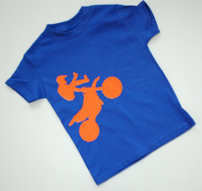 Children's motocross orange on blue tshirt m by funkycottontshirts, $16.00