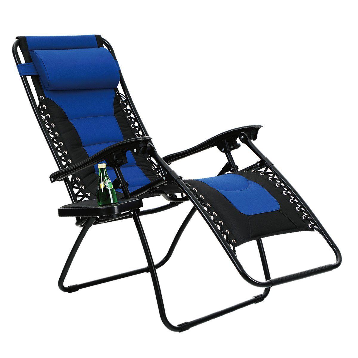 Phi Villa Padded Zero Gravity Lounge Chair Patio Foldable