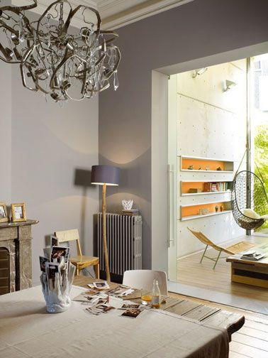 Couleur salle a manger salon peinture gris et orange for Salon salle a manger gris
