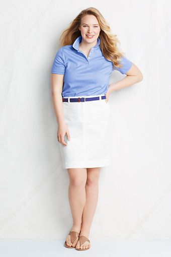 de1a6974b3ffe Women s Plus Size Stretch Chino Skirt from Lands  End    with a denim shirt   3