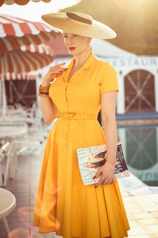 50s Caterina Swing Dress In Mustard Yellow Swing Dress 1950s Fashion Dresses Beautiful Shirt [ 1530 x 1020 Pixel ]