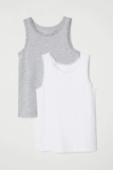 72699aa0352 2-pack Lace-trimmed Tank Tops - White #ribbed#cotton#soft | Girls ...