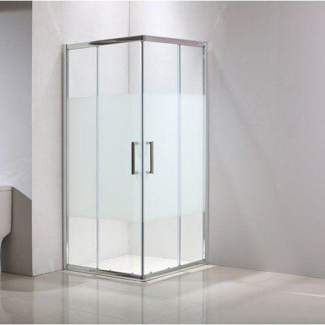 porte de douche coulissante angle carré l.80 x l.80 cm, chromé