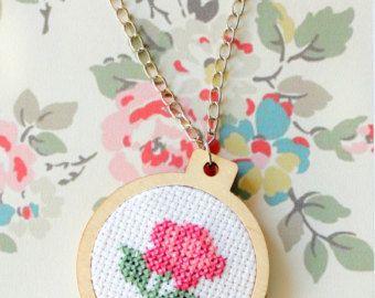 Necklace pendant embroidery butterfly cross by SandraandStitch