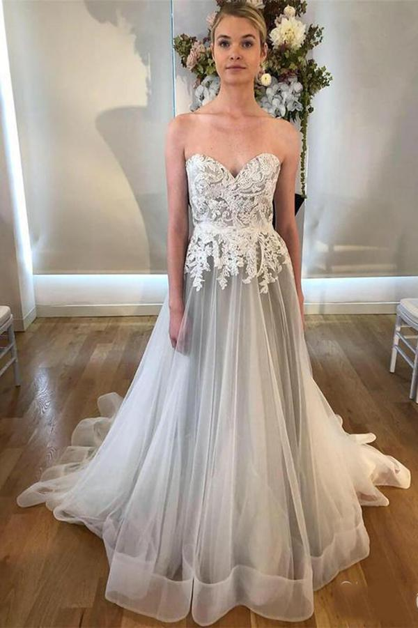 Cheap Sweetheart Neck A Line Silver Grey Wedding Dresses Long Appliqued Bridal Dress N1278 In 2020 Grey Wedding Dress Wedding Dresses Strapless Wedding Dresses Lace