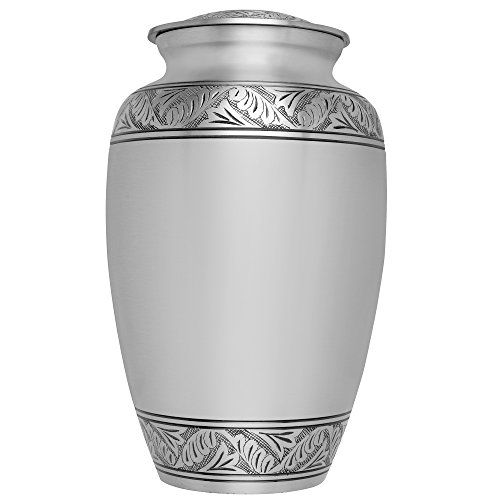 Funeral Urn by Liliane  Cremation Urn for Human Ashes  Hand Made in Brass and Hand Etched  Fits the Cremated Remains of Adults as Well as the ashes of dogs cats or other pets  Display Burial Urn at Home or in Niche at Columbarium  Lauriers Model Silver *** You can find out more details at the link of the image.