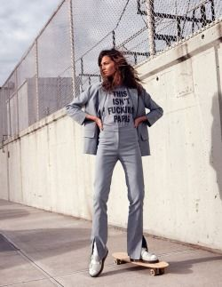 grey, suit, casual, Kylie Kloss