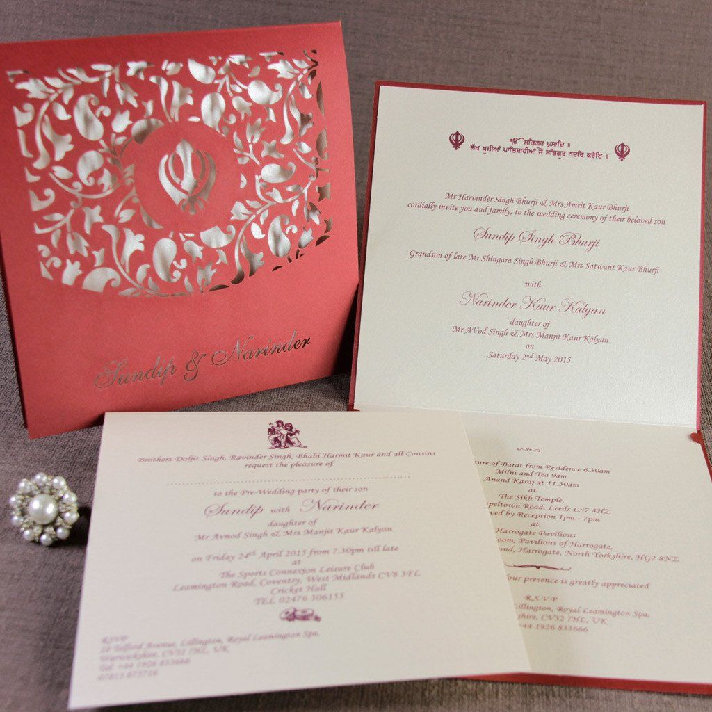 Ganesha In The Middle Luxury Top Fold Indian Asian Wedding Invitation Personalised Laser Cut