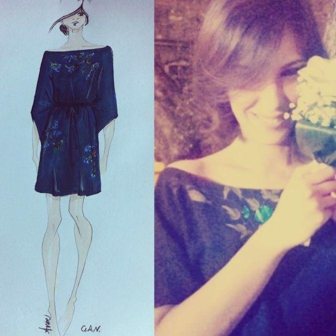 G.A.N. Dress in silk georgette hand painted
