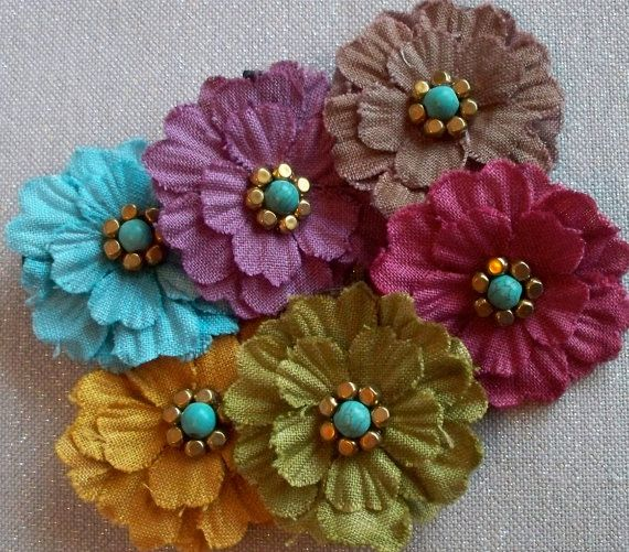 Shabby Chic Fabric Flower Hair Clippie - 6 Color Choices