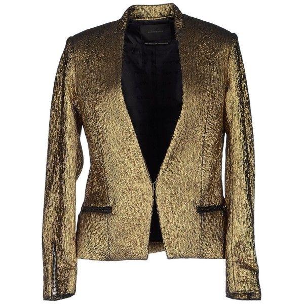 Maison Scotch Blazer ($140) ❤ liked on Polyvore featuring outerwear, jackets, blazers, blazer, gold, maison scotch blazer, long sleeve blazer, brown jacket, multi pocket jacket and maison scotch jacket