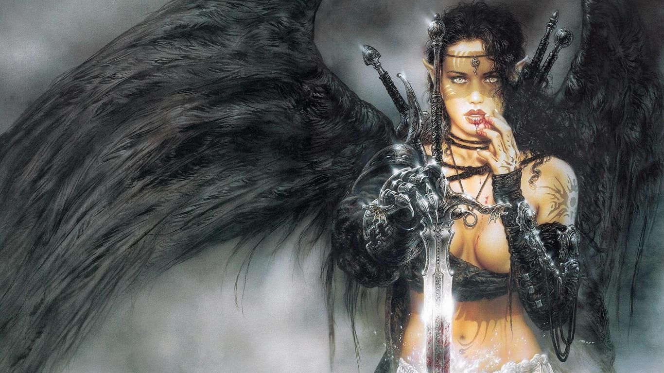 Gothic Sword and Angel Wings art | Warrior Angels Dark Angel Wallpaper with 1366x768 Resolution