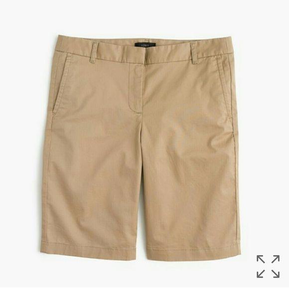 J. Crew Bermuda shorts size 4 J. Crew Bermuda khaki shorts size 4. EUC! Comes from a smoke free home and open to offers! J. Crew Shorts Bermudas