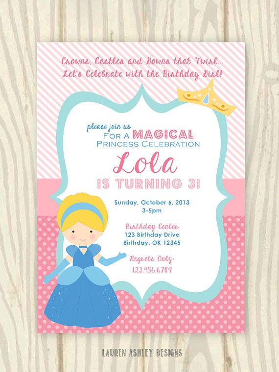 Princess Cinderella Birthday Party Invitation by LaurenADesigns