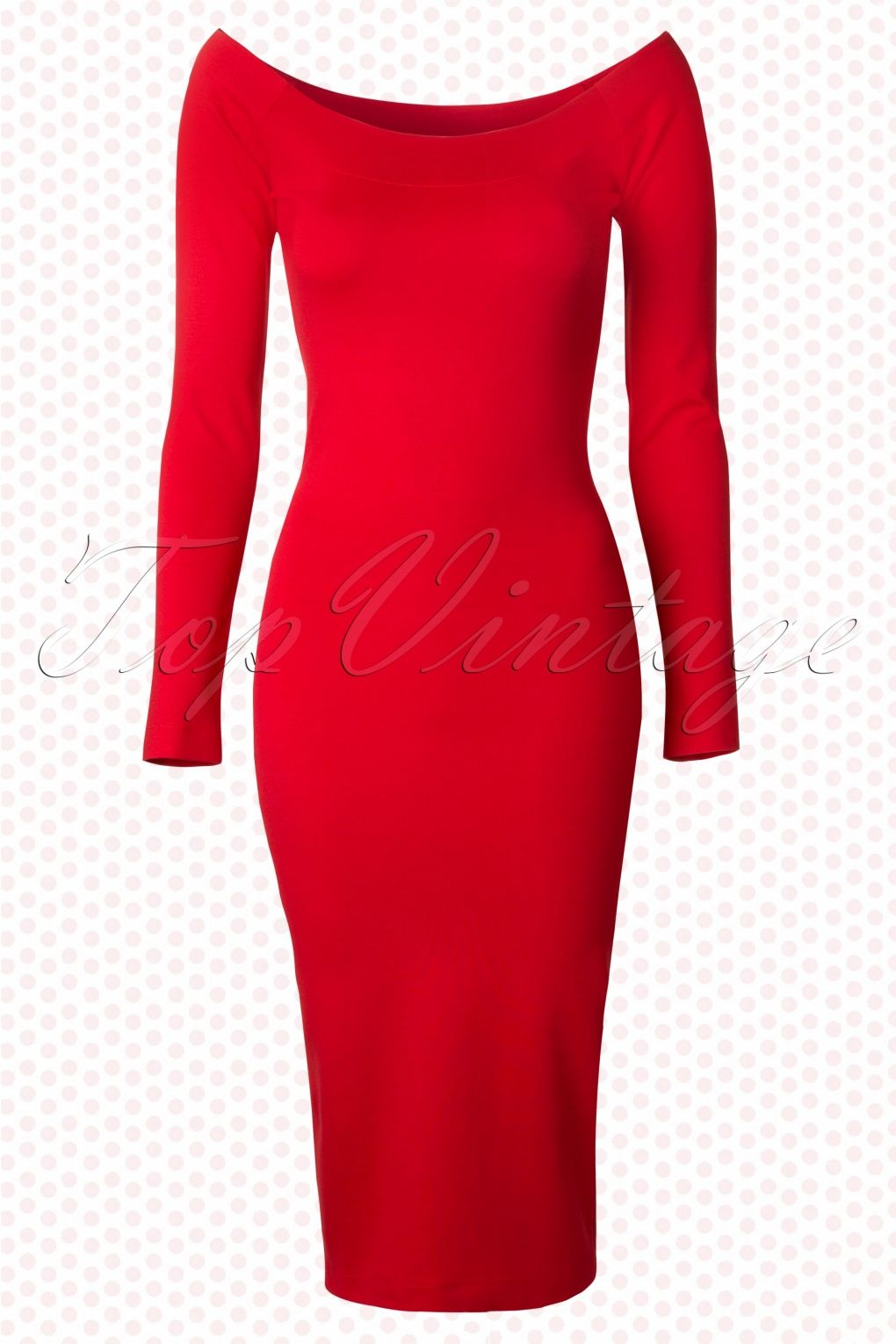 Hotrod Hussy - TopVintage exclusive ~ 50s Moira Pencil Dress in Red