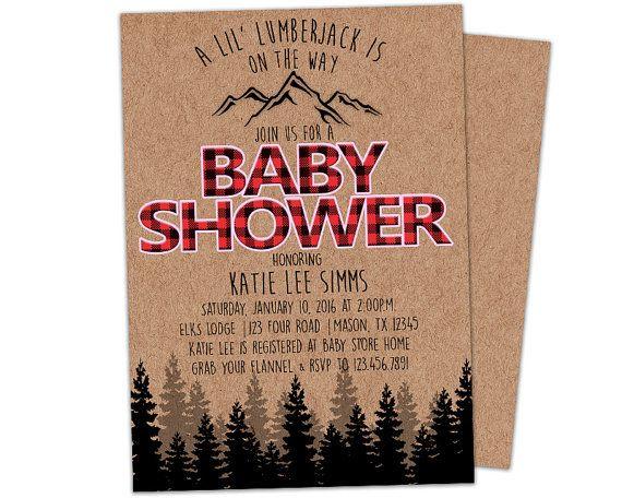 Lumberjack Baby Shower Invitations - Boy Baby Shower Invites - Its a ...