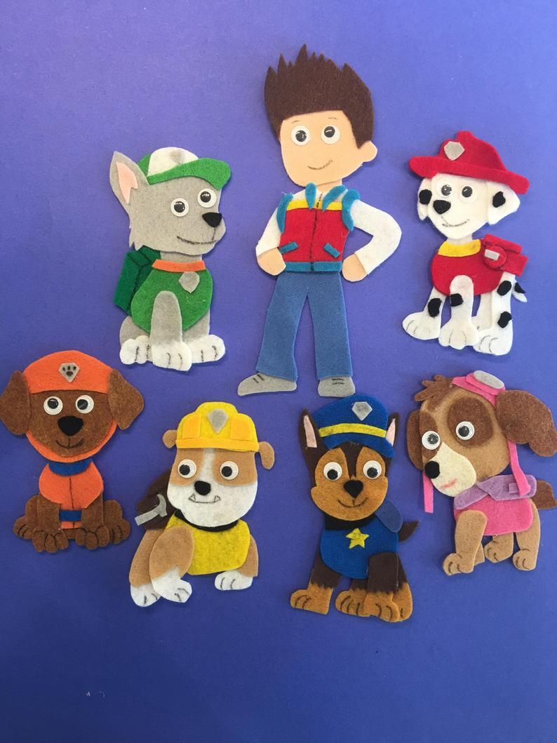 Ryder and the Pups  Paw Patrol Felt Patterns  PDF PATTERN ONLY - Paw patrol coloring pages, Paw patrol toys, Paw patrol, Felt board, Felt, Mommy crafts - 2  x 11 sheets to print your patterns   I have also included basic instructions on making a felt board with this pattern    PLEASE NOTE THIS IS A PDF HAND DRAWN PATTERN ONLY  NOT A COMPLETED ITEM   THERE ARE NO REFUNDS ON PATTERNS Please do not share the patterns with others   Feel free to share my Etsy Shop   Thank you!
