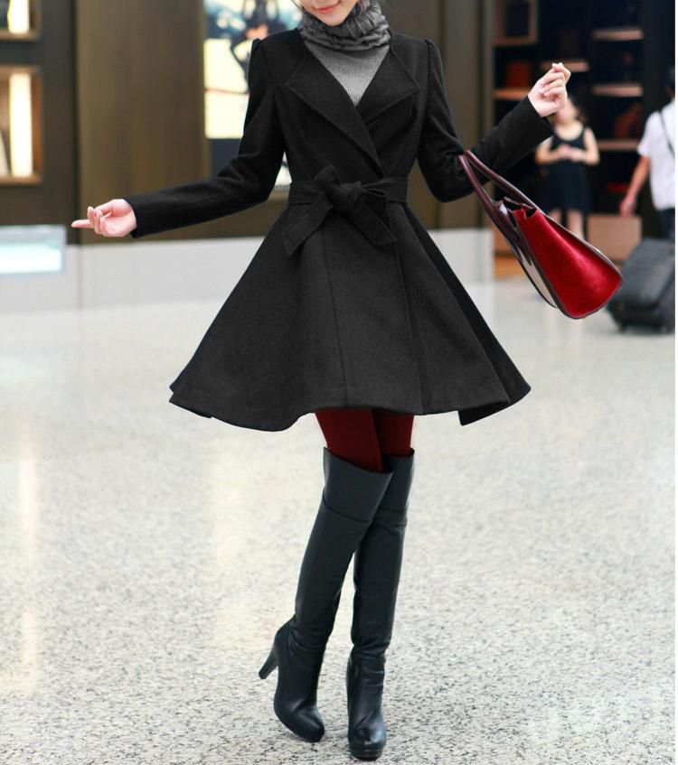 Red / Black wool women coat women dress coat Apring Autumn CO003 ...
