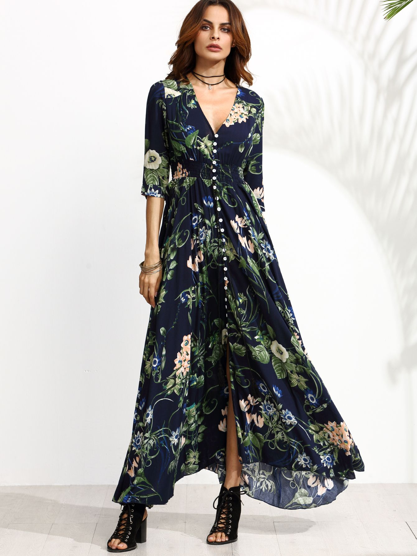 a5f2bedd4e8 Shop Navy Floral Print Half Sleeve Button Front Dress online. SheIn offers  Navy…