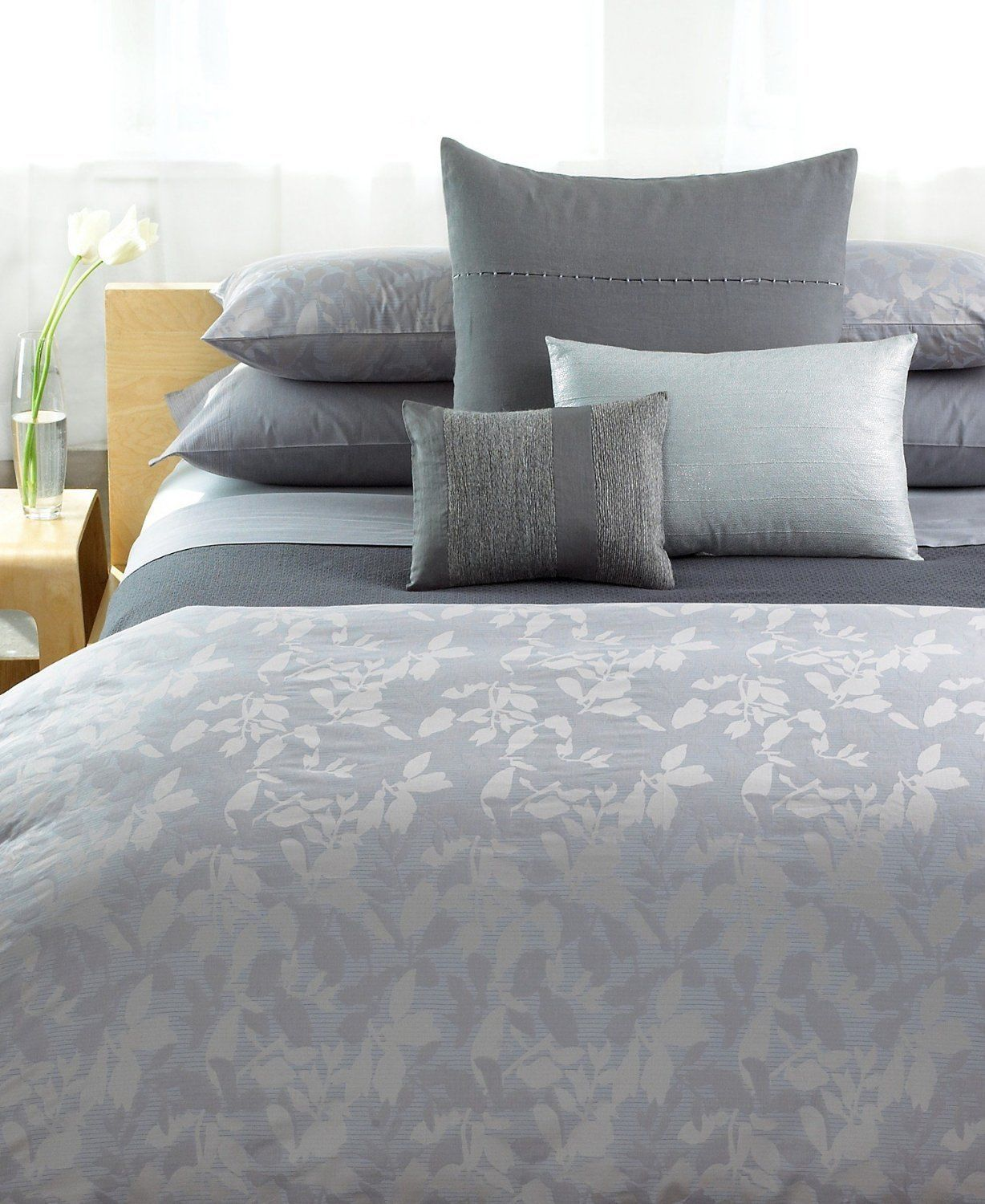 Calvin Klein Haze Full Queen Duvet Cover Beige Silver Grey