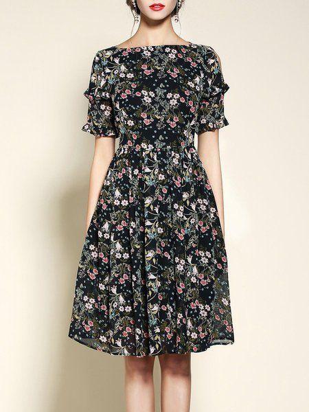 Pin By Jordan Freeze On Vestidos Floral Print Midi Dress Dresses Designer Outfits Woman