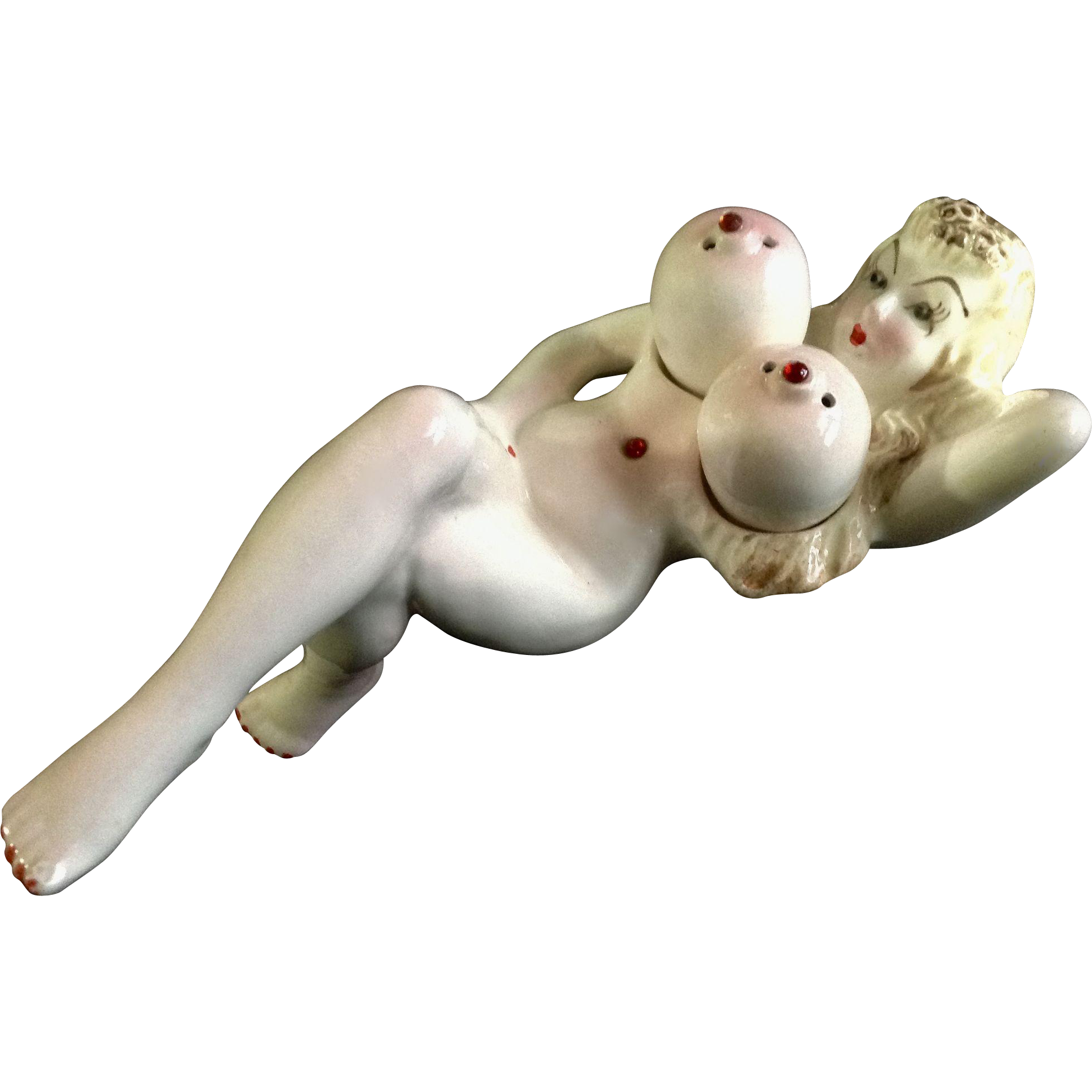 1960S Nude Lady Big Breast Salt And Pepper Shakers Tray -1670