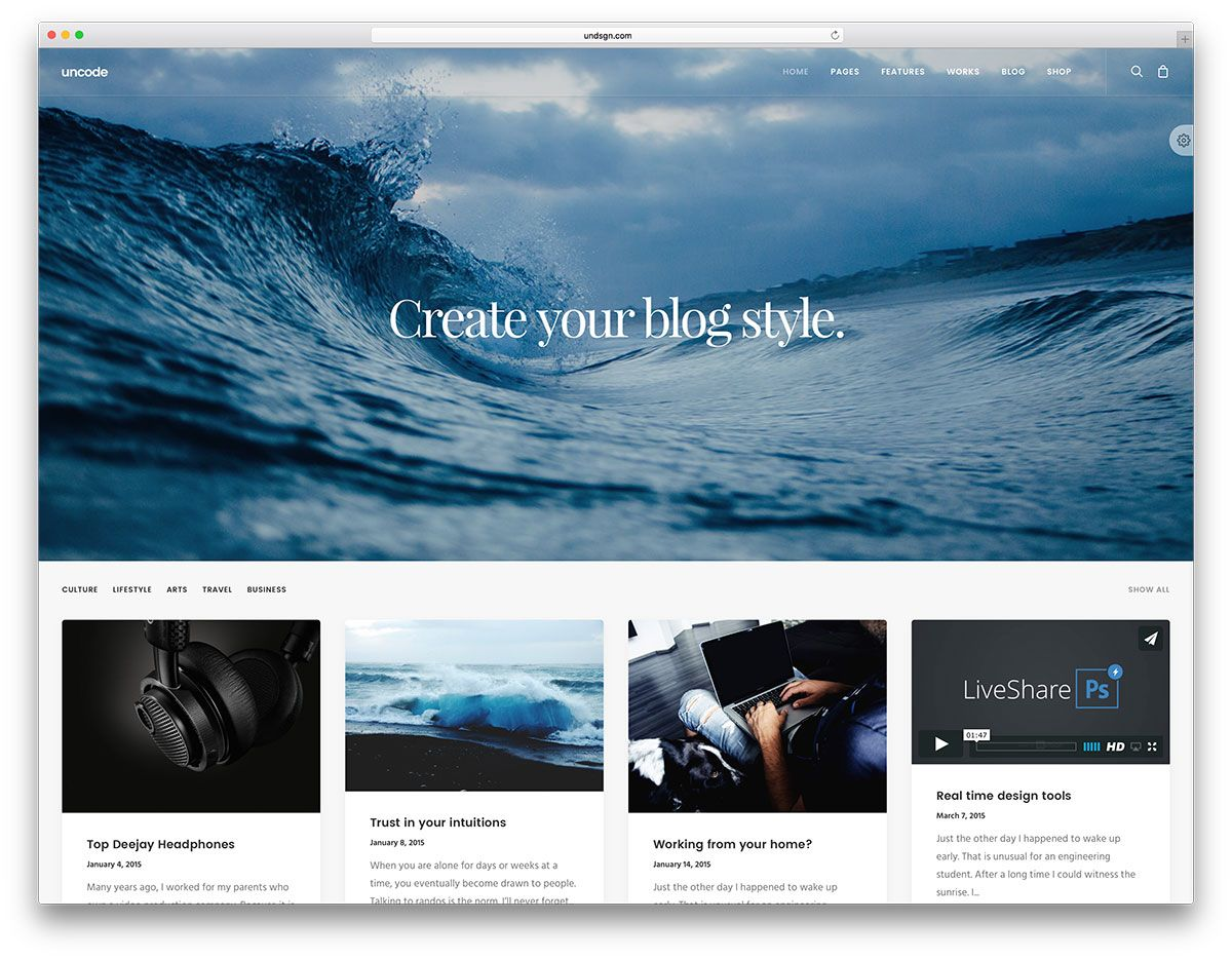 uncode-simple-wordpress-blog-site-template | web design