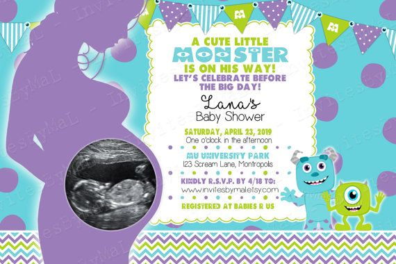 Sale monsters inc baby shower invitation with by invitesbymal baby monster inc baby shower invitation filmwisefo Image collections