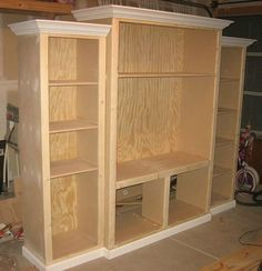 Awesome Our New Custom Built Entertainment Center Make My Own From Bookshelves!