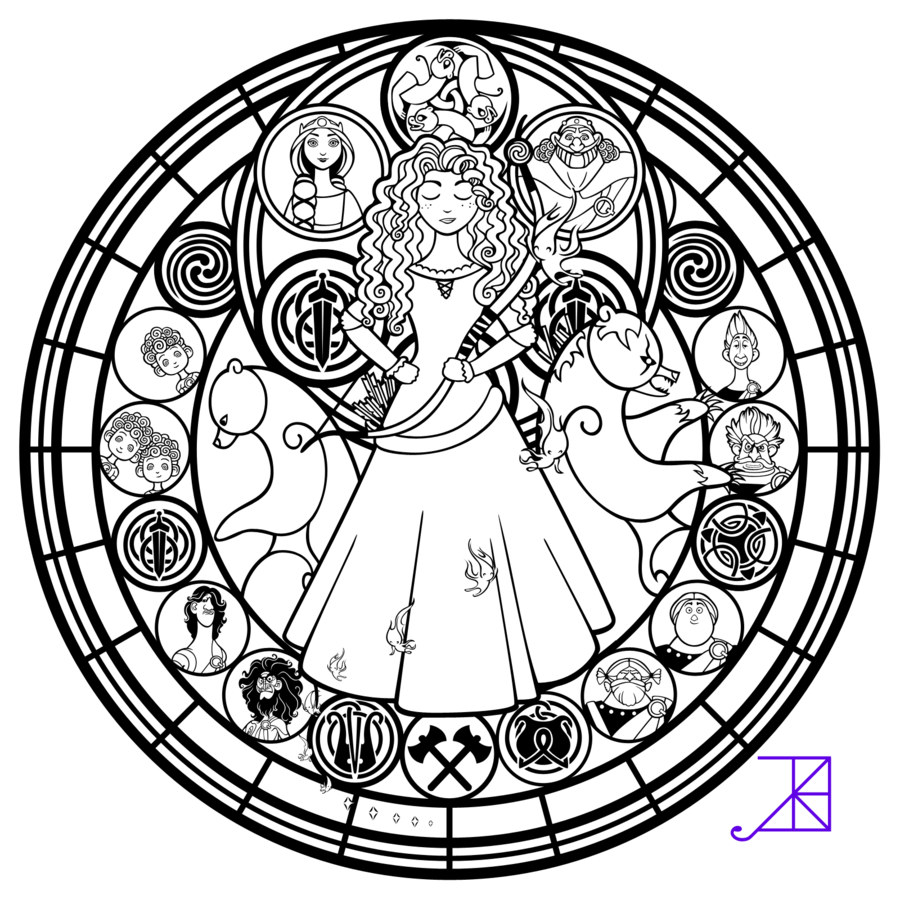Disney Brave Stained Glass Merida line art by Akili Amethyst
