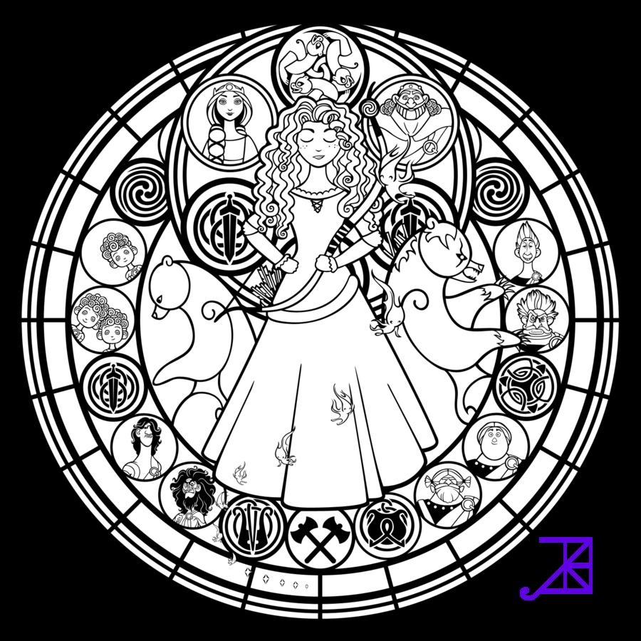 Stained glass merida line art by akiliamethyst on deviantart