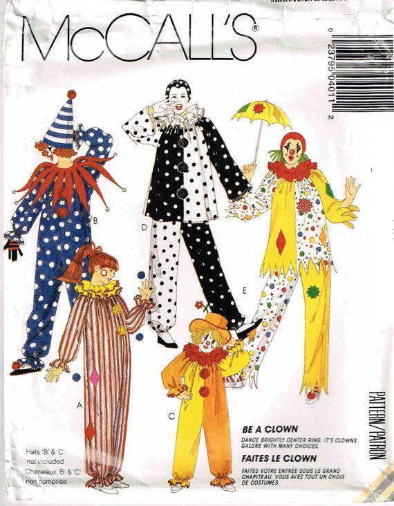 Clown Sewing Pattern Child Misses Mens Adult McCalls 4944 DIY ...