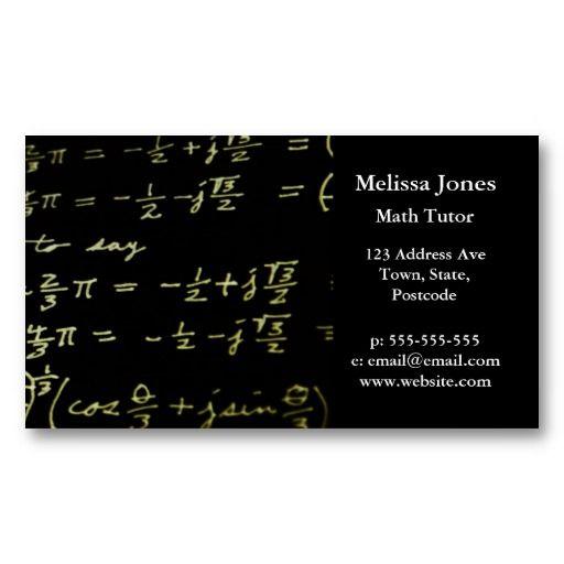 Math Equations Blackboard Maths Tutor Teacher Business Card