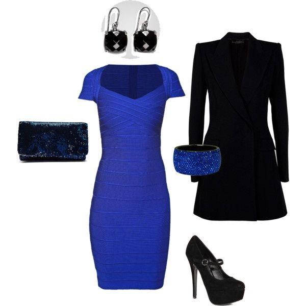 Como combinar un vestido azul rey