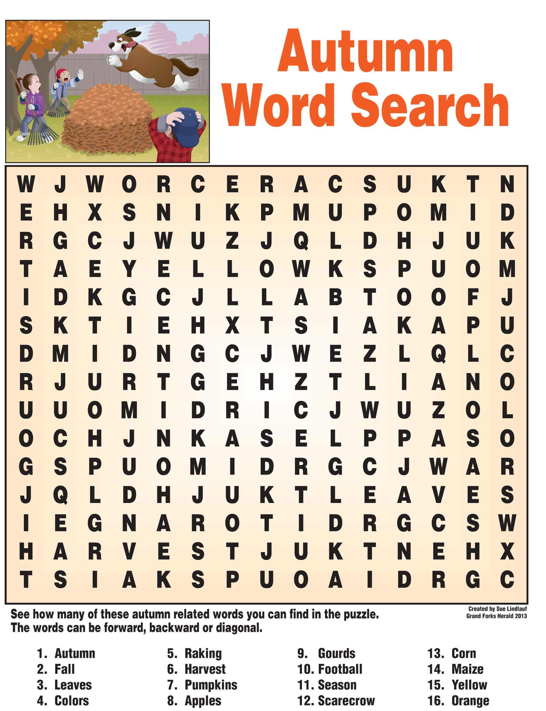 Autumn Word Search With Images