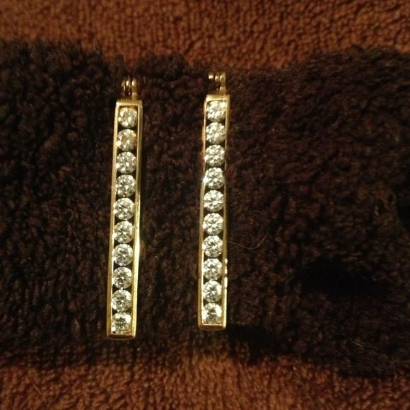 """Elegant SS gold clad Earrings w/ CZ's. """"Reduced"""" Very pretty Sterling Silver 925 Earrings  w/ CZ's.....These would take you to work, then out to dinner, and finish the day out dancing. Jewelry Earrings"""