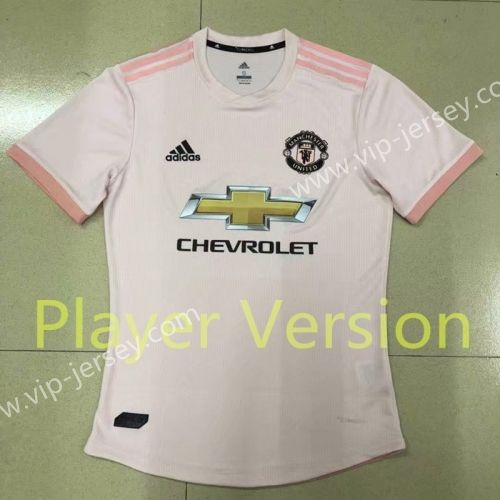 16c0aa5df Player Version 2018-19 Manchester United Away Pink Thailand Soccer jersey  AAA