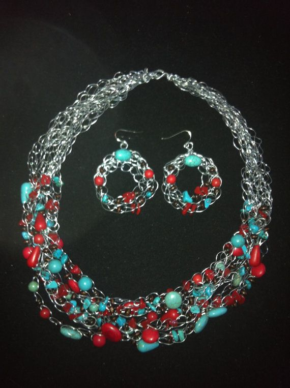 Crocheted Red and Turquoise Necklace set by JackeeWillisJewelry, $25.00