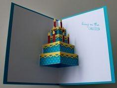 Machen Sie eine Geburtstagstorte Pop-up-Karte (Robert Sabuda-Methode)   – Cartes pop-up
