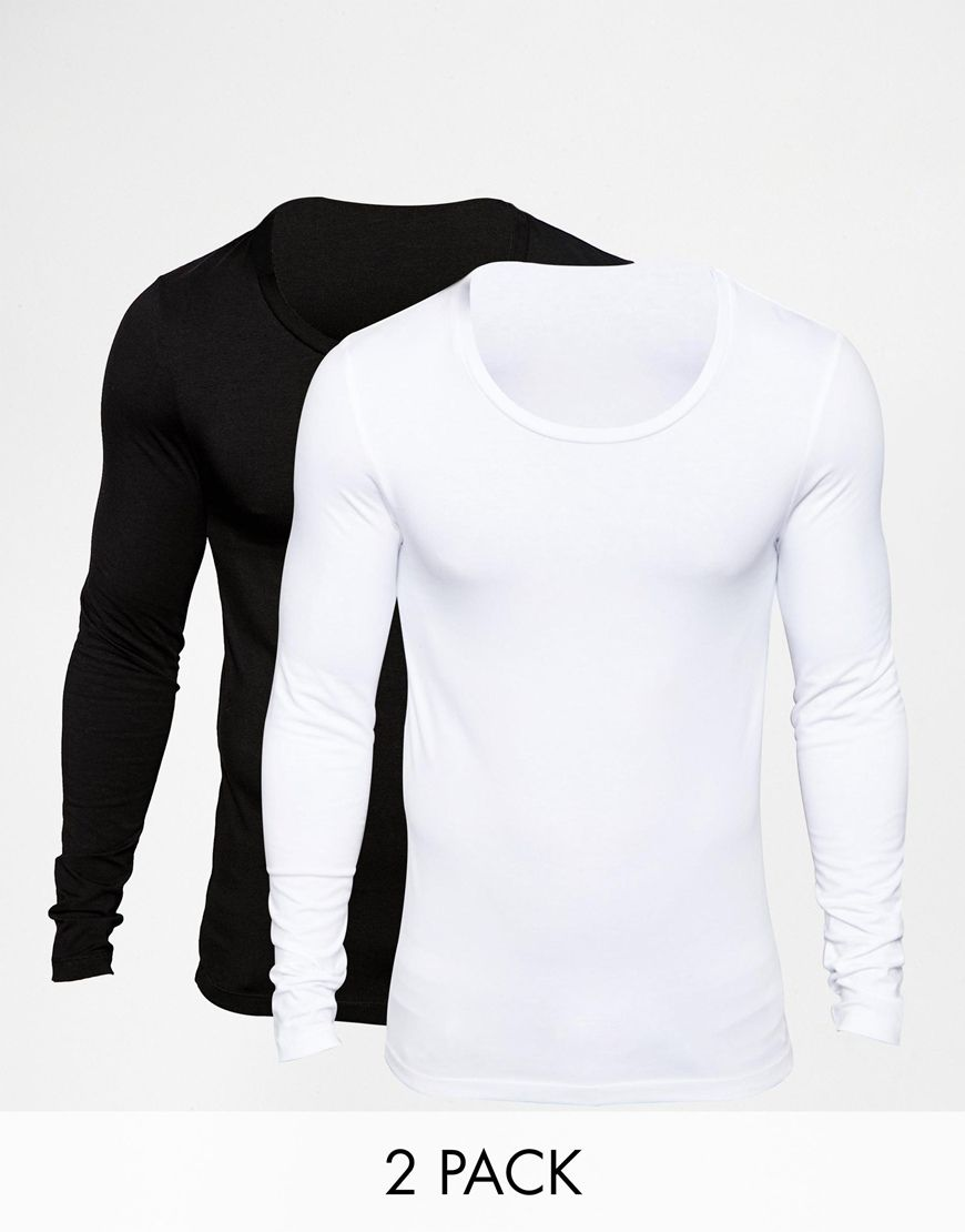 Image 1 of ASOS Extreme Muscle Fit Long Sleeve T-Shirt With Scoop Neck 2