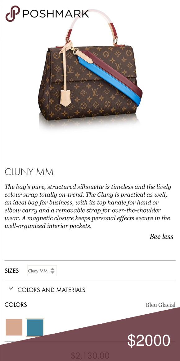 5a1d28aaef8f Authentic Louis Vuitton Cluny Handbag Authentic LOUIS VUITTON Monogram Cluny  MM Bleu Glacial. Receipt